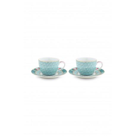 PIP Blush ptáci set/2 espresso šálek a talířek modrý 120ml