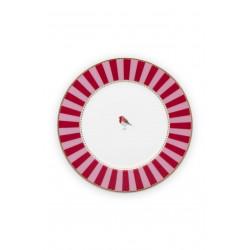 PIP talíř Love Birds Stripes red-pink 17cm