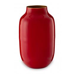 PIP váza metal oválná červená 30cm