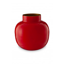 PIP váza metal kulatá červená 25cm