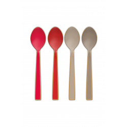 PIP příbory set/4 smalt, khaki/červená 16cm