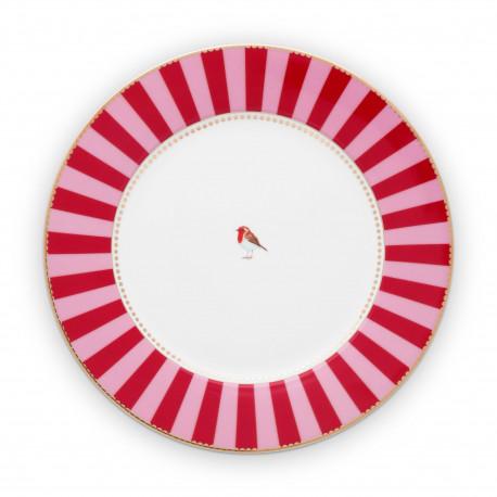 PIP talíř Love Birds Stripes red-pink 26,5cm, Pip Studio