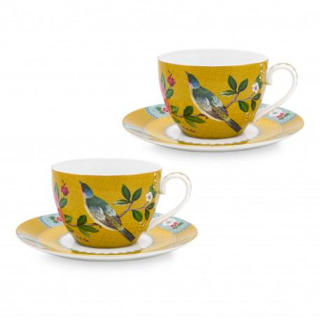 PIP Blush ptáci set/2 šálky a talířky žluté á 280ml