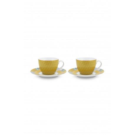 """Pip Studio """"Blushing Birds"""" 2ks hrnků s talířky na espresso 120ml, žlutá"""