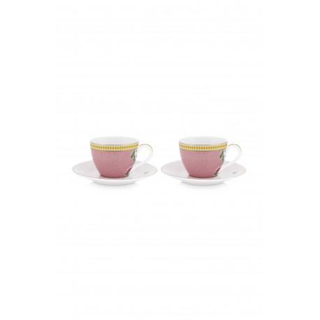 "Pip Studio ""La Majorelle"" 2ks espresso hrnků 120ml s talířky, růžové"