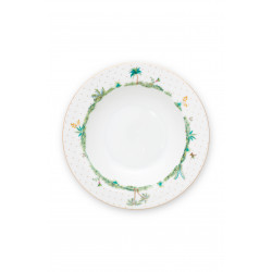 Pip Studio Jolie dots gold, hluboký talíř ∅21,5cm, bílý