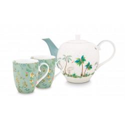 Pip Studio Jolie velký čajový set/3 v dárkovém balení, konvička a hrnečky, bílá