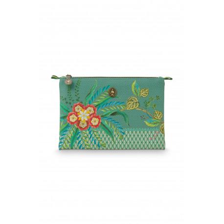 Pip Studio kosmetické pouzdro Fleur Mix v zelené, na zip, 24x15,5x1
