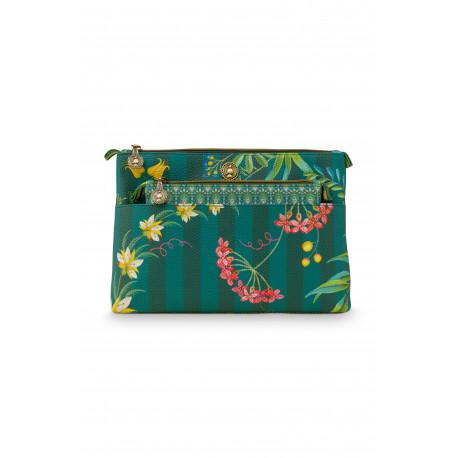 Pip Studio kosmetická taška Kombi Fleur Grandeur zelená, 26x18x7,5cm