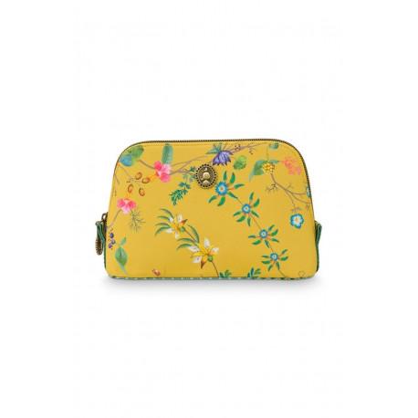 Pip Studio kosmetická taška Petites Fleur Yellow 19/15x 12 x 6cm, nylon satin