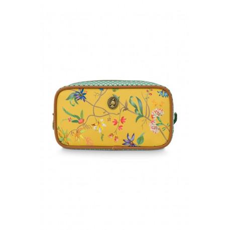 Pip Studio kosmetická taška Square small Petites Fleur Yellow 20 x 10,5 x 7,5cm, nylon satin